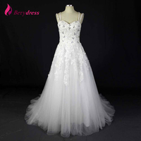 Berydress Real White Wedding Dresses 2016 Shinny Rhinestone A Line Spaghetti Vestido De Noiva Appliques Tulle