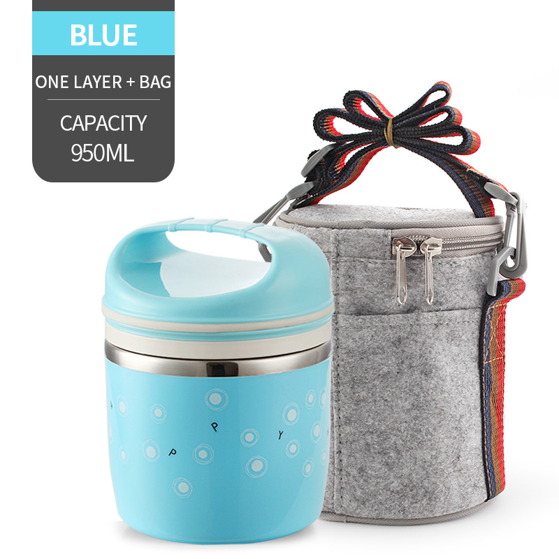 Милые детские Термальность Коробки для обедов герметичность Нержавеющая сталь Bento box для детей Портативный Пикник школа Еда контейнер Box - Цвет: NO. Blue 1 With Bag