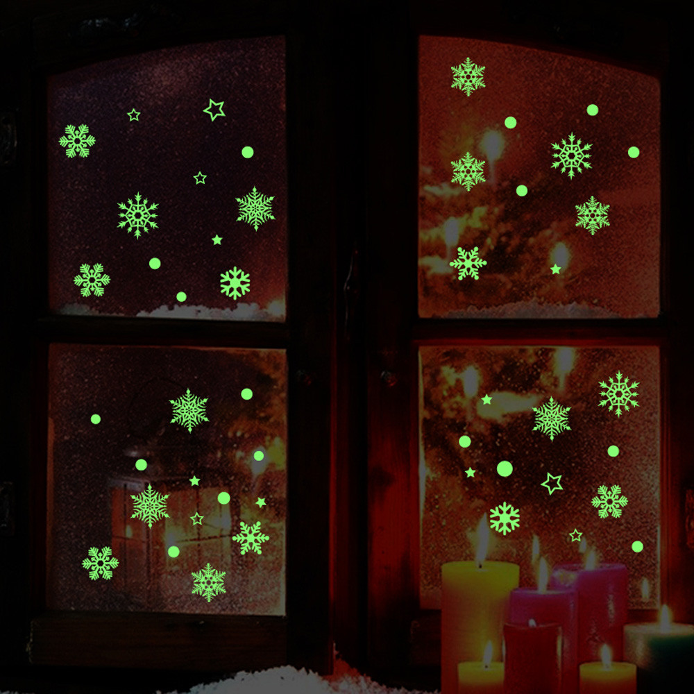 Christmass Wall Stickers Luminous Glow In The Dark Diy Decals Stiker Switch Lampu Kucing Gantung Nowflake Removable Shop Window Living Room Decoration Refrigerator Art Home Decor