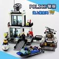 Police Station Building Blocks Sets 536pcs Helicopter Speedboat Educational DIY Bricks Toys For Children Model Building Kits