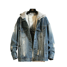 2019 New Mens Denim Jacket Coat Loose Fit  Men Hip Hop Ripped Jeans Jackets Hoodies Cowboy Plus Size 5XL Single Breasted Casual цена