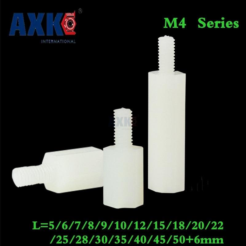 Axk 100pcs Thread M4 White Nylon Standoff Spacer Male To Female Column Plastic Long Hex Nut/screws Pcb Pillar m2 5x21mm 22mm 23mm 25mm 30mm 35mm 37mm 40mm 10pcs lot six corner spacer hexagonal aluminum column standoff post screws
