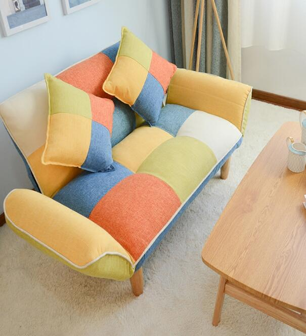 Convertible Adjustable Sofa Couch and Love Seat Japanese Furniture Fold Down Futon Sofabed Ideal for Living Room, Bedroom, Dorm