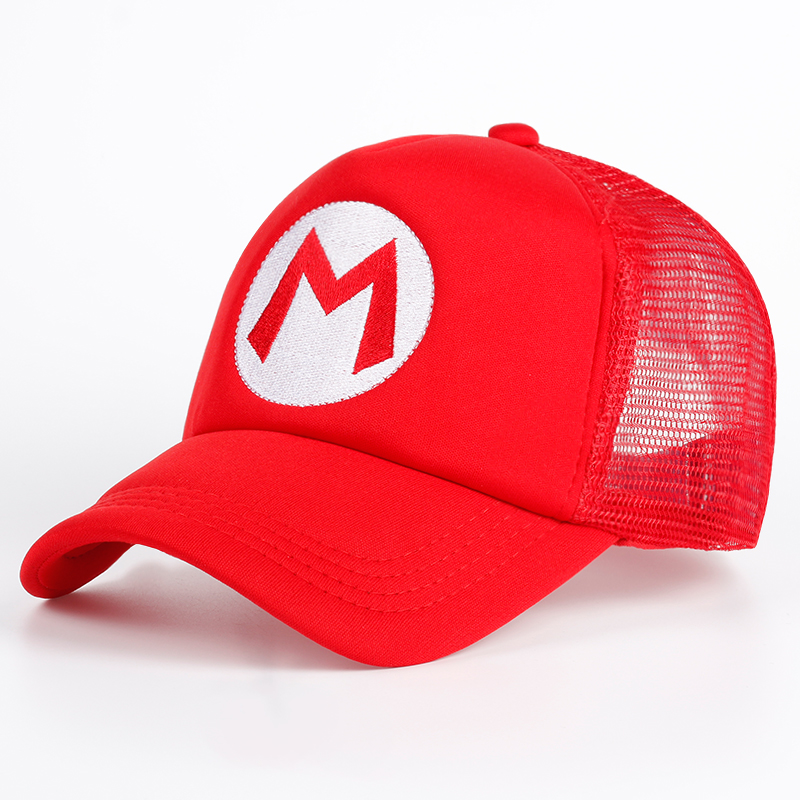 Super Mario Bros Hat Cartoon Brand Baseball Cap Mesh Red Mario Anime Cosplay Costume Hat Summer Bone Adjustable Letter M Hats