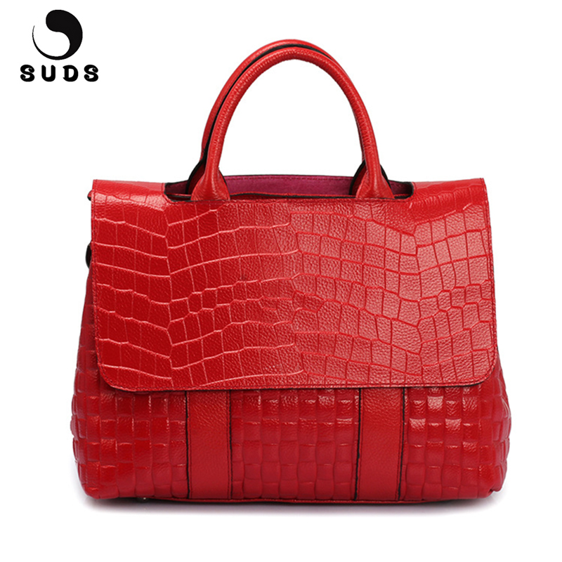 SUDS Brand Women Alligator Genuine Leather Bags Handbags Women Satchels Vintage Large Capacity Female Cow Leather Crossbody Bags suds brand women casual 100