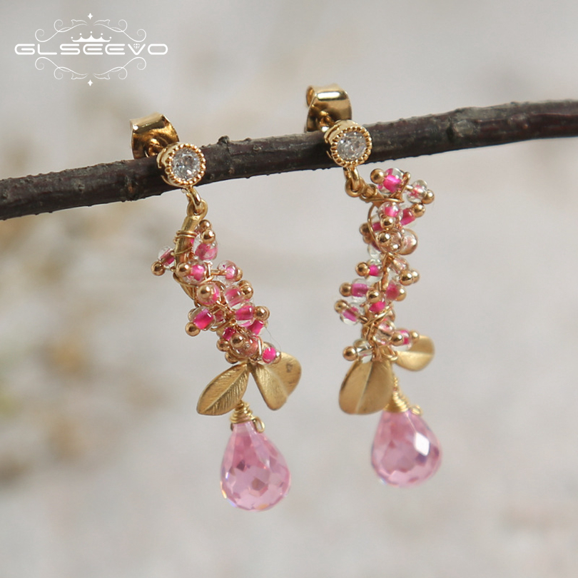 GLSEEVO Natural Water Drop Pink Crystal Leaf Drop Earrings For Women Gifts Dangle Statement Earring Luxury Fine Jewelry GE0543 pair of graceful faux crystal rhinestoned water drop earrings for women