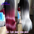 "Cheap Burg/Grey Ombre Synthetic Wigs For Black Women 28""Long Straight Grey Ombre Wig Freetress Hair Kylie Jenner Synthetic Wig"