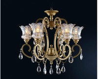 Free Shipping Crystal Chandelier Bronze Hanging Lamp Luxurious European E14 AC LED Brass Crystal Lamp Lustre Suspension Lighting