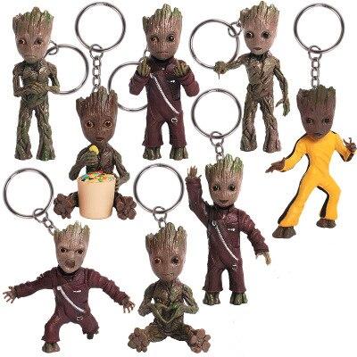 Tree Men Movie Dolls Phoneholder Grunt Guardians of Galaxy Vol 2 Man Figuras Brinquedos Keychain Key Bag Pendants gifts