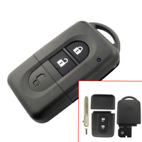 NEW 2 Button Remote key Shell No Logo for Nissan Micra Xtrail Qashqai Juke Duke Uncut Blade Key Fob Case Replacement