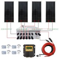 400W Off Grid Complete Solar Panel Systems with Z Brackets MPPT Solar Combiner