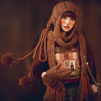 2pcs Hat Gloves Super Cool Fashion Halloween Cosmetics Hats Knitting Crochet Big Ball Octopus