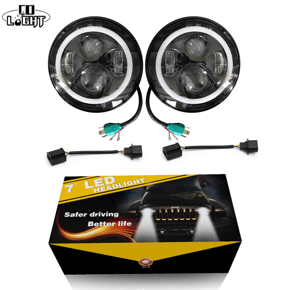 CO LIGHT 2pcs 7 Inch Led Driving Light 50W 30W H4 H13 LED Auto Kit Lampu Kereta untuk Jeep Led Head Lamp Bulbs Dipped & High Beam