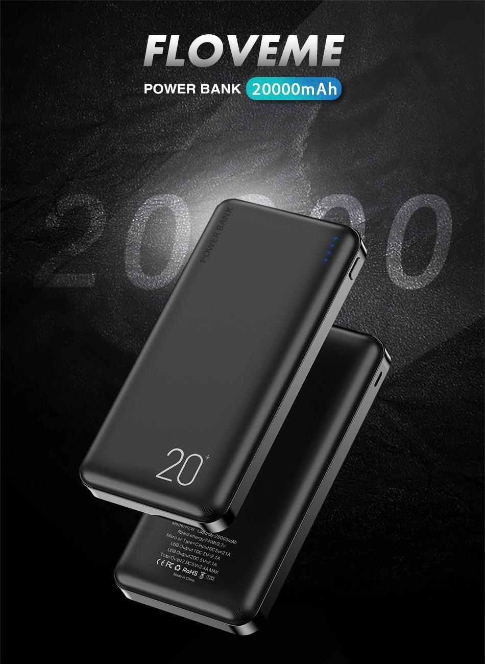FLOVEME Power Bank 20000mAh Portable Charging Poverbank Mobile Phone External Battery Charger Powerbank 000 mAh for Xiaomi Mi 1