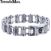 Trendsmax 16mm 316L Stainless Steel Punk Biker Motorcycle Link Mens Bracelet Chain Silver Color Wholesale Jewelry