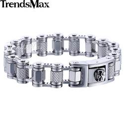 Trendsmax Skull Lock Men's Bracelet 316L Stainless Steel Wristband Silver Color Link Chain Male Jewelry HB461