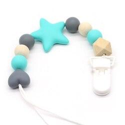 Персонализированные силиконовые клипсы для детского зубного кольца с безопасными бусины ABS силиконовые соски держатель цепи для соски игр...