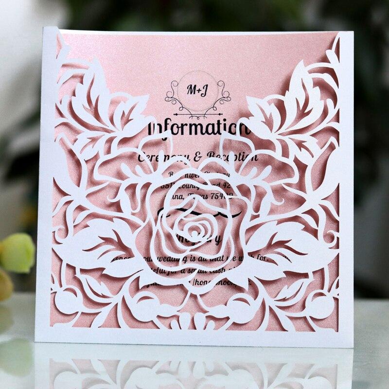 1pcs กระเป๋าลูกไม้การ์ดเชิญงานแต่งงานสแควร์เลเซอร์ตัด Rose ดอกไม้ปรับแต่งการ์ดอวยพรงานปาร์ตี้...