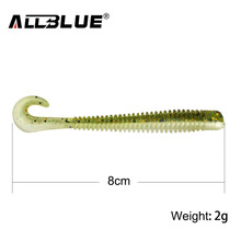ALLBLUE 8pcs/lot 8cm 2g Silicone Ribbed Body Curly Tail Soft Lure Curltail Grub Artificial Bait for Bass&Perch&Pike Fishing Lure