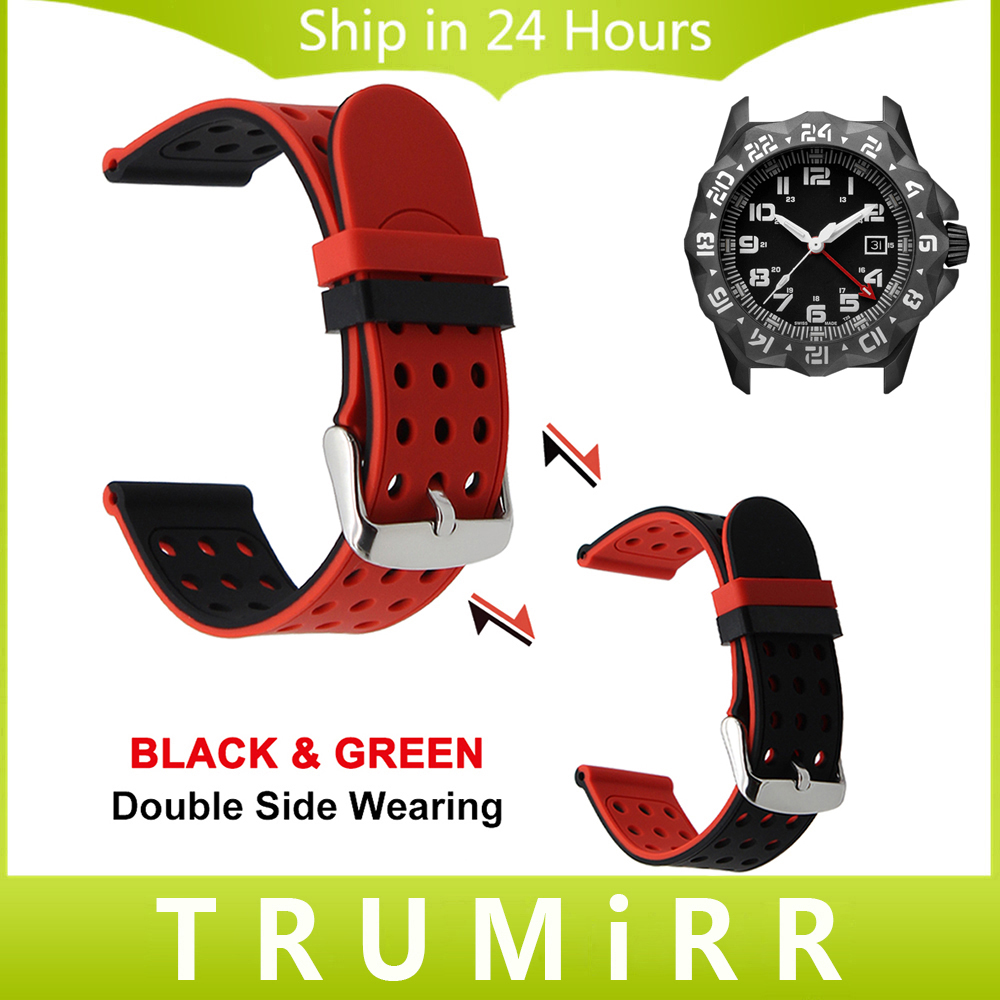 Double Side Wearing Watchband 22mm 23mm + Tool for Luminox Silicone Watch Band Wrist Strap Rubber Bracelet Blue Black Green Red luminox strap fn 3950 36q black orange