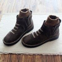 Women Winter Shoes Round Toe Slip On Ankle Boots Knitting Wool Warm Waterproof Soft Sole Handmade