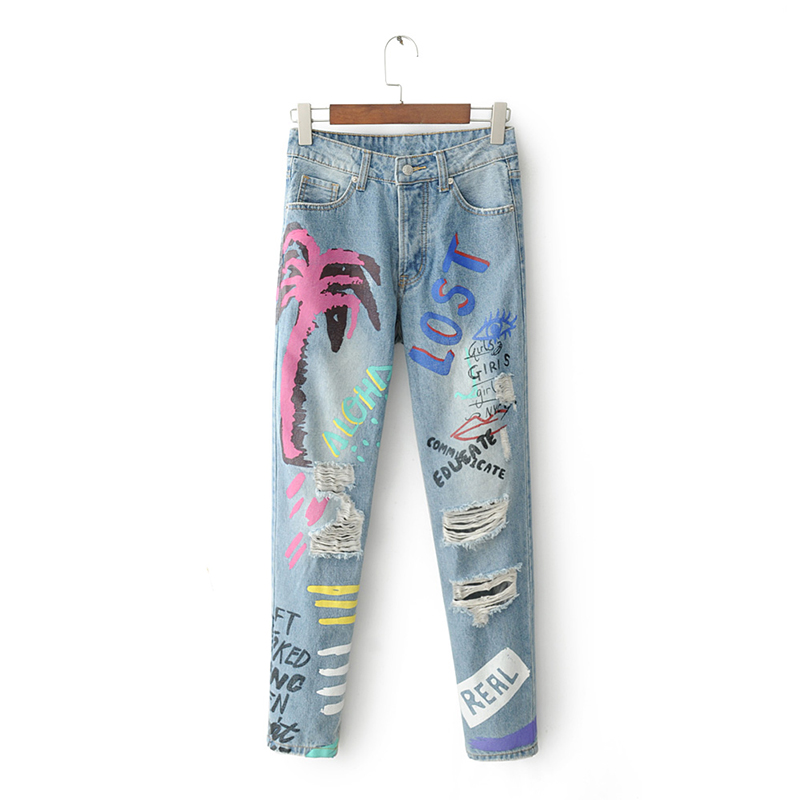 Womens Mild Washed Bleached Light Blue Hole Painted Jeans Zipper Zip Front Letters Wood Painted Decorative Hip-Hop Jeans