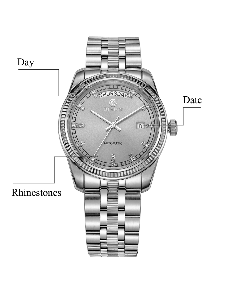 056fbeeea97 BINLUN Men s 18k Gold Luxury Automatic Watch Gold Waterproof Sapphire  Scratch Resistant Business Top Mechanical Men s Wristwatch