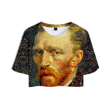 Van Gogh 3D Printed Women Sumemr Cool Crop Top 1
