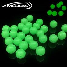 Amlucas 50pcs/lot Luminous Beads Fishing Area Beans spherical Float Balls Stopper mild Balls sea Fishing Lure Deal with WE138