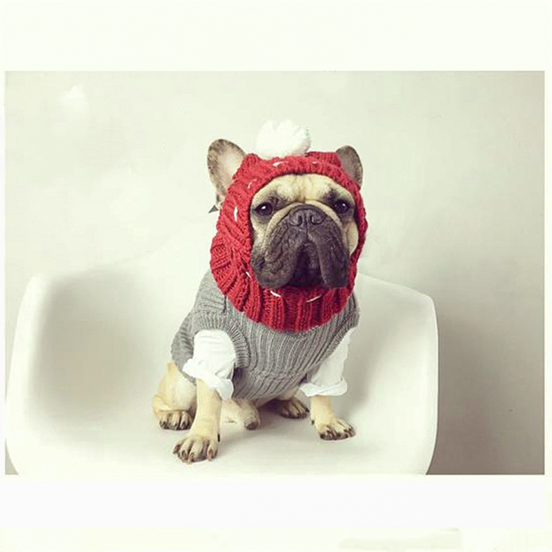 Winter Dog Warm Caps Christmas Lovely Hats Costume Accessories Woolen Puppy Hat with Cute Ball Headwear for Small Medium Dogs