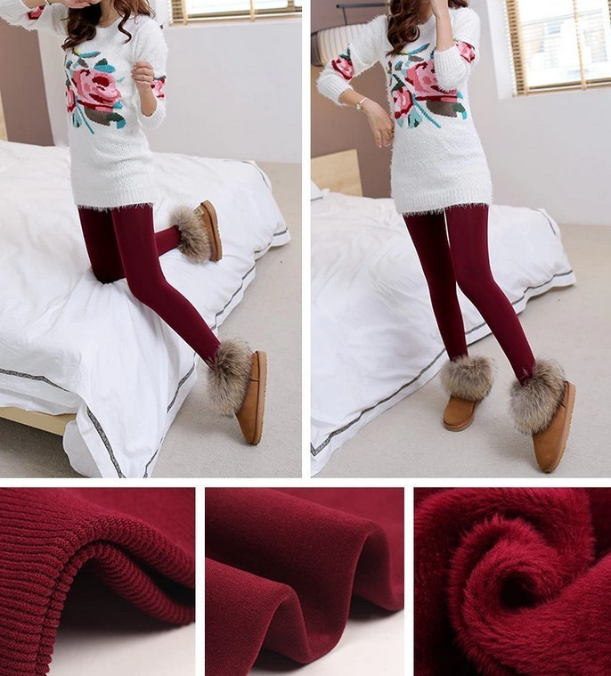 CHRLEISURE New Winter Thick Velvet Pants Female Warm Outer Wear High Waist Pants Were Thick Stretch Pants Stepped Foot legging 9