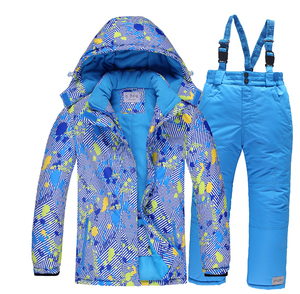Image 3 - 2019 Winter Set for Boy Fleece Hood Warm Girls Skiing Suits Windproof Sport Children Outfits Clothes Kids Snow Suits Tracksuit