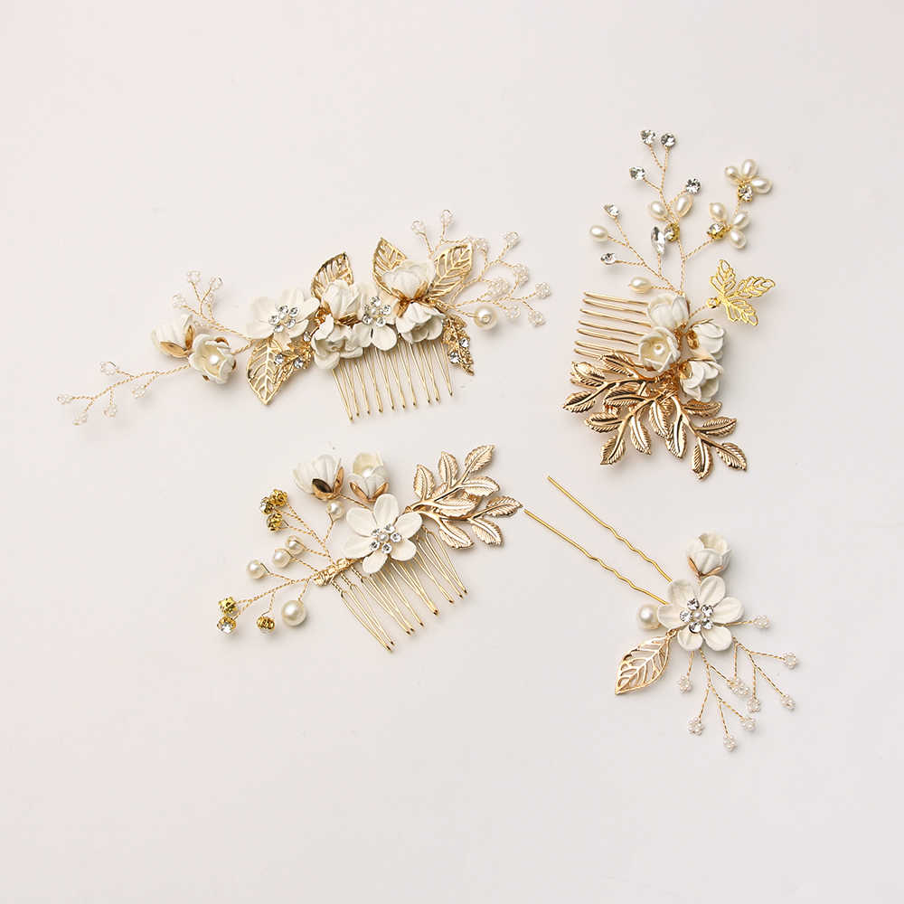 White Flower Hair Combs Headdress Imitation Pearls Prom Bridal Wedding Hair Accessories Gold Leaves Hair Jewelry Hair Pins