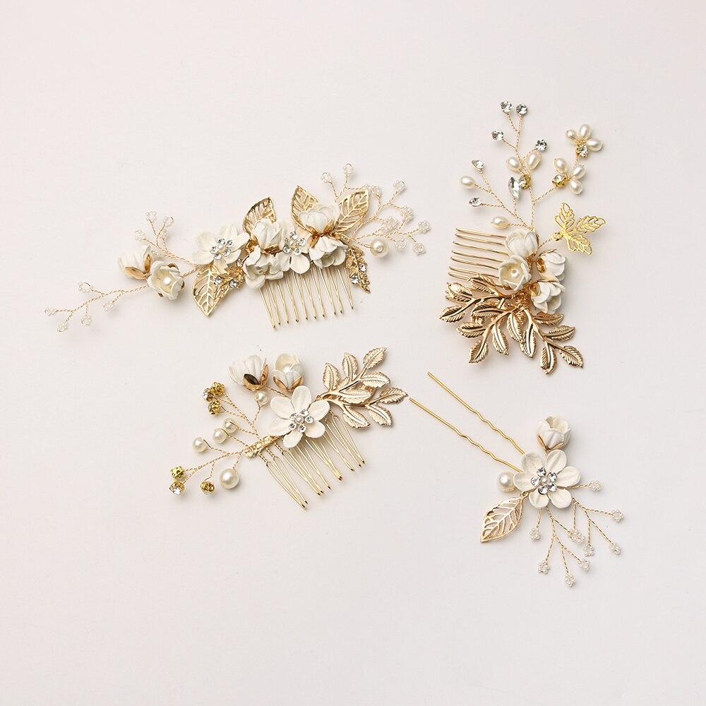White Flower For Hair Wedding: White Flower Hair Combs Headdress Imitation Pearls Prom