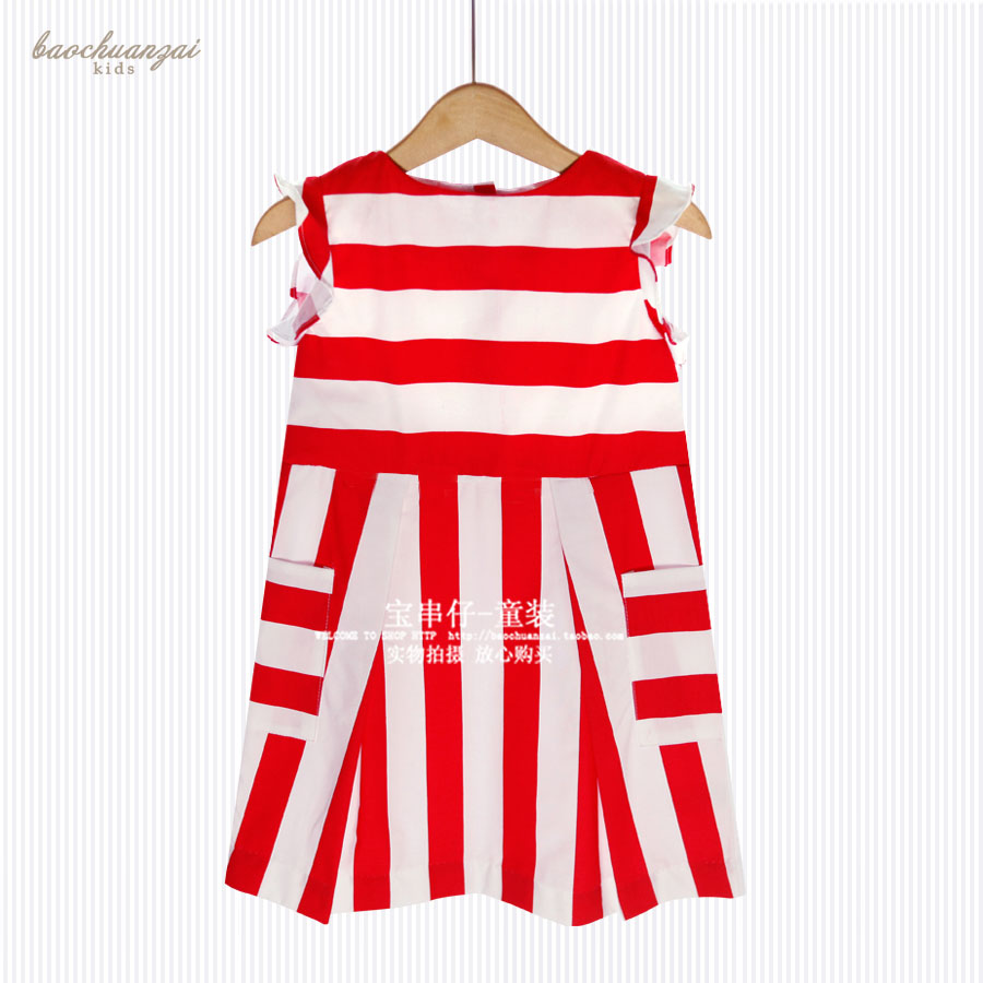 Red Striped Sleeveless O-neck Dress Graduation Gowns Children Kids Dresses for Girls Girls Summer Dress Girls Dresses for Party женское платье summer dress 2015cute o women dress