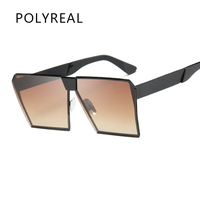 POLYREAL 2017 New Women Oversized Square Sunglasses Men Unique Shield UV400 Gradient Vintage Hexagon Eyeglasses Female