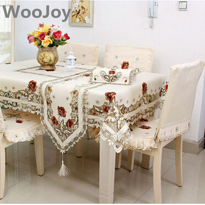 TC002 Europe Style Wedding Tablecloth Embroidered Floral Lace Edge Covers  For Table Home Party Table Clothes
