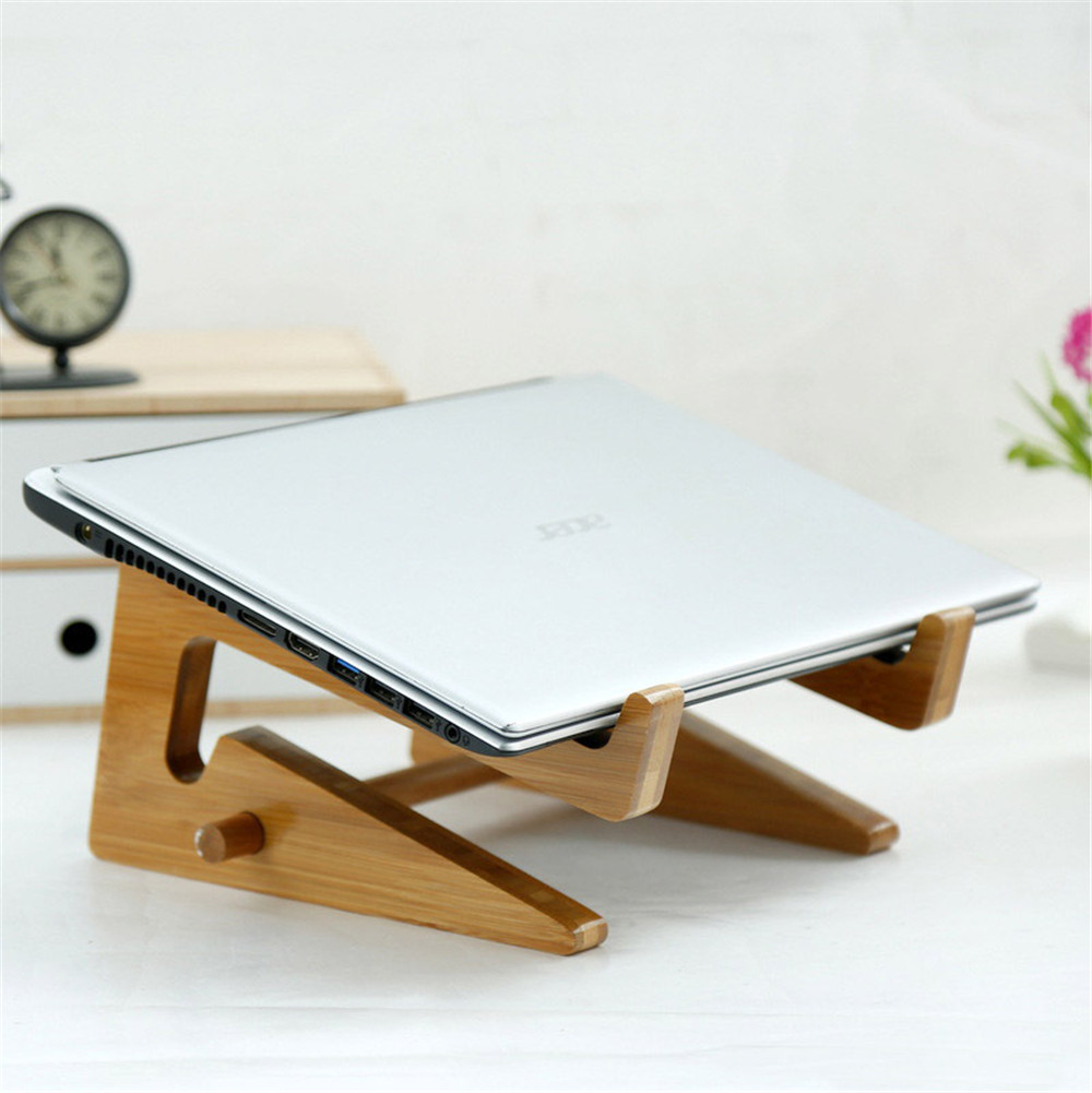 Portable Laptop Wood Stand Notebook Add Height Holder Desktop Organizer Bracket for Macbook Dell Lenovo