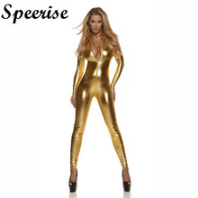 Sexy Women Shiny Metallic Spandex Lycra Cat Suit Turtlenneck Catsuit Long Sleeve Unitard Front zipper Zentai Bodysuit цена