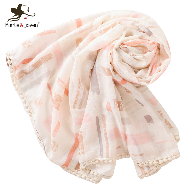 Back To Search Resultsapparel Accessories Marte&joven Women Striped Cotton Blend Pink Scarves Hijab Ladies Elegant Long Spring Autumn Warm Shawls Scarf Stoles For Female