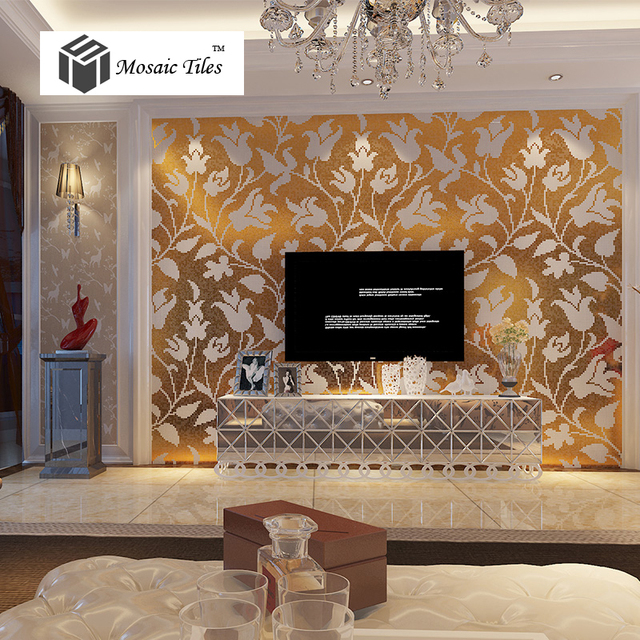 Bisazza style mosaics Tulipa gesneriana gold white flower home deco ...