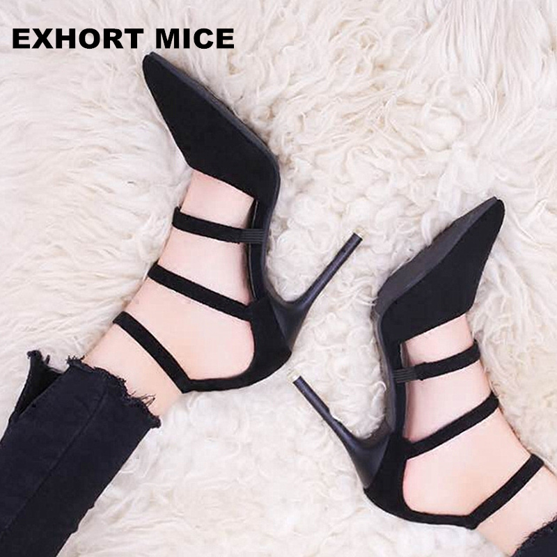 Zapatos Mujer Tacon Schoenen New Arrival Pu Thin Heels 2018 High Shoes Women Pumps Two Piece Pointed Toe Ladies 10cm T-tied idg brand women slip on high heels short rough with the fall and winter metal buckle rivets shoes woman zapatos mujer tacon
