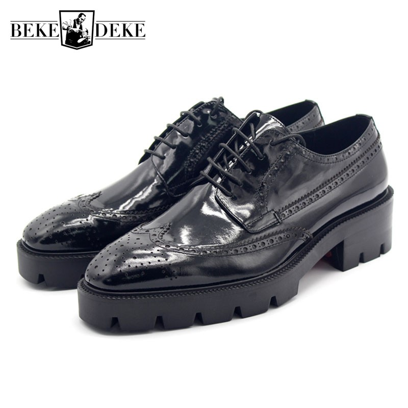 2018 NEW Brogue Derby Shoes Men Genuine Leather Thick Platform Formal Shoes Lace Up Party Wedding Leather Shoes Men Plus Size fashion genuine leather brogue shoes men spring new dress shoes formal shoes height increasing platform men shoes hot sale