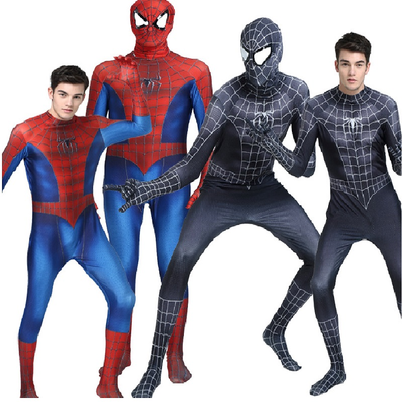 Spider Man Halloween Costume Adults.Us 23 09 23 Off Halloween Costumes For Women Plus Size Spandex Amazing Spiderman Costume Adult Black Kids Cosplay Men Adult Boys High Quality In