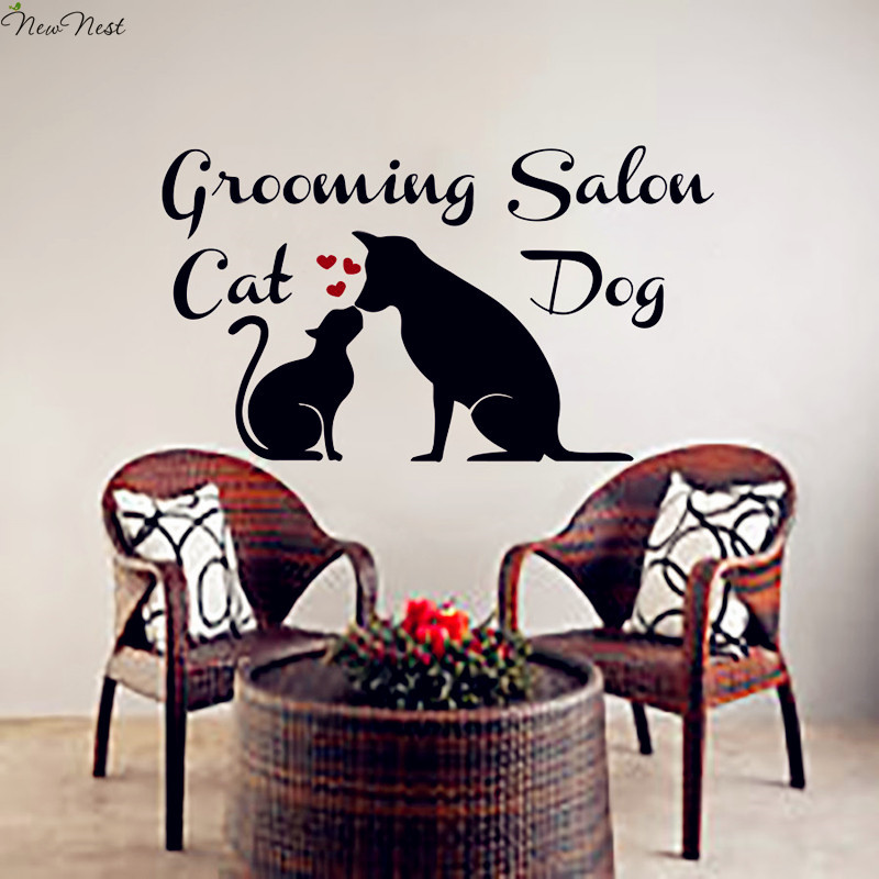 Wall Decals Dog & Cat Grooming Salon Mural Vinyl Sticker Pet Shop Heart Decor Interior Design Bedroom Art Poster Home Decor