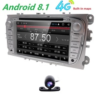 Android 8.1 Quad Core 1024*600 Double 2 Din 4G Car DVD Player For Ford Focus Mondeo Galaxy Audio Radio Stereo Headunit GPS Navi