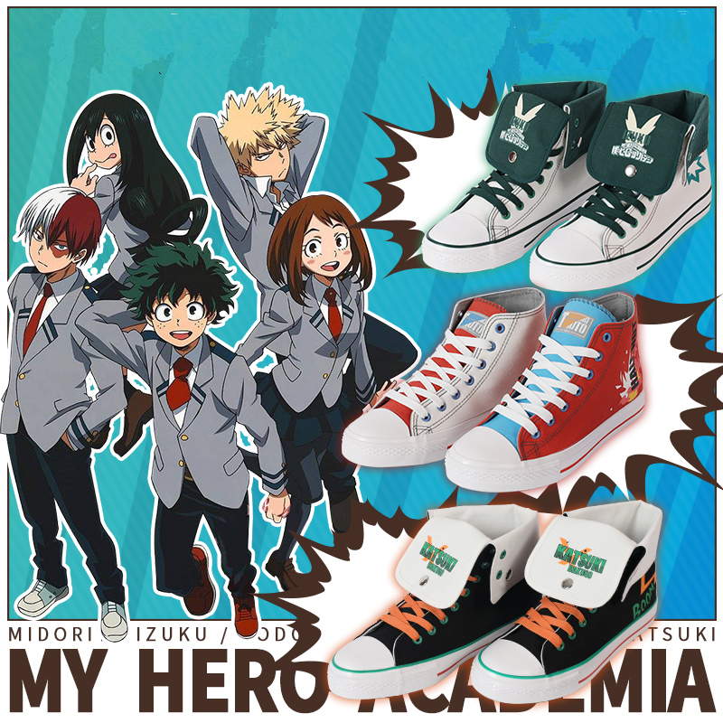 My Hero Academia Midoriya Izuku Cosplay Props Canvas Shoes Todoroki Shoto Bakugou Katsuki Women Men Outdoor Sports Shoes New