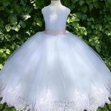 Белое платье цвета слоновой кости с цветочным узором для девочек; розовая лента; вечерние платья из тюля для девочек; праздничное рождественское платье для малышей; на заказ