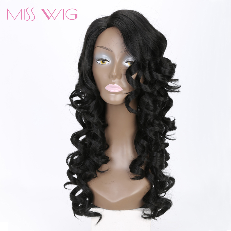 MISS WIG 18 pulgadas larga peluca rizada rizada rubia rosa peluca - Cabello sintético