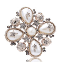 Luxury Star Crystal Rhinestone Lapel Pins And Brooches For Women Large Mother Of Pearl Suit Broches